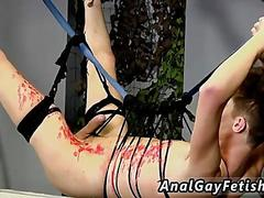 Skinny twink waxed and jerked off in a sex swing