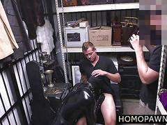 Leather dressed pawn man starts gay threesome for cash