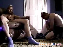 Chubby guy masturbates at home with his buddy