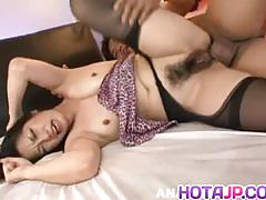 Stocking clad brunette gets her hairy pussy hammered