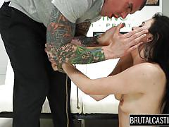 small tits, casting, brutal, rough sex, brunette, tattooed, big dick, mouth fuck, tied hands, brutal castings, fetish network, kallie jo