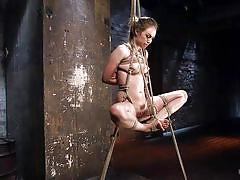 blonde, bdsm, babe, hogtied, vibrator, suspended, dildo fuck, device bondage, rope bondage, hogtied, kink, lyra law, the pope