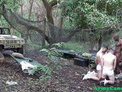 Military muscle hunks in outdoor orgy