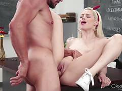 Elsa jean rides her teachers hot cock in the classroom