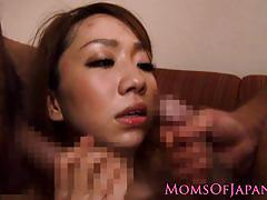 Japanese milf fucked in threesome