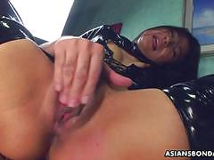 Pvc clad asian fucked hard and rough