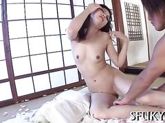 Japanese hottie fucked in a dojo by dirty dude