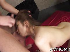 Japanese slut gets her high class pussy threesome fucked