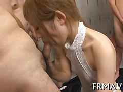 Japanese chick wets lips for a hot double blowjob
