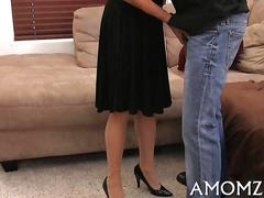 Mature wrinkly whore fucks a young guy on a couch