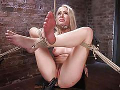 Blonde naked slut gets bonded and roughly aroused