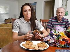 Old fart frankie feed teen amy his beef jerky
