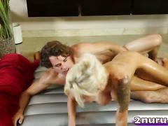 Hot blonde milf with big tits satisfies her man