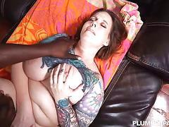 Busty redhead milf vanya vixen massages big black cock