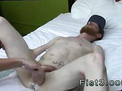 Bearded pale guy gets fist fucked and balls punched