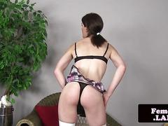 Solo stockings femboy toying ass with dildo