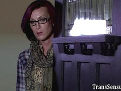 Lesbian tgirl jerks off