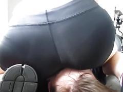 amateur, big ass, brunette, butt, gym, facesitting, ass-worship, ass-licking, sweaty, booty, black-shorts