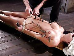 bdsm, babe, busty, hogtied, vibrator, blindfolded, tits torture, clothespins, rope bondage, hogtied, kink, charlotte cross, the pope