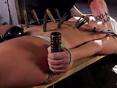 Blindfolded naked slut gets aroused