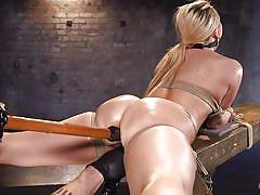blonde, bdsm, babe, dildo, hook, executor, ball gag, device bondage, rope bondage, hogtied, kink, aj applegate, the pope