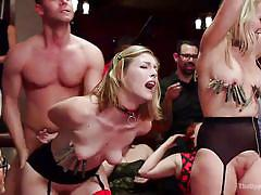 Blonde slaves get dominated and fucked
