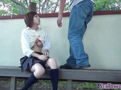 Asian schoolgirl sucks