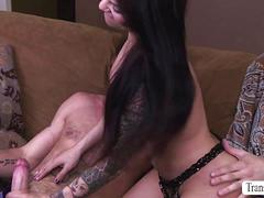 A hot butt-driven ride with sultry shemale foxxy with hunk ty