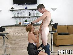 Mature lady gets fucked wearing high heels on her couch