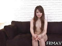 Japanese girl with little tits gets served with two dicks