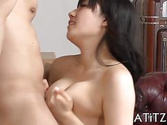 Busty japanese girl gets busty tits fucked before cock ride