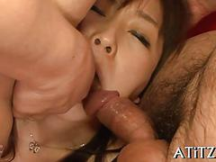 Japanese girl in lingerie gets her face fucked in threesome