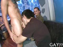 Skinny cowboy stripper get sucked off by party boys