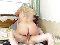 Stocking clad granny fucked from behind