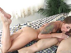 Tattooed kennedy jax wraps her lips round her hard cock