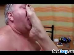 Fat german grandfather gets a footjob