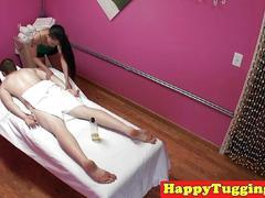 Hiddencam massage with asian wanking client