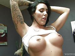 babe, deepthroat, masturbation, pussy licking, tattooed, pierced nipples, ball sucking, black hair, big breasts, white ghetto, fame digital, mark frenchy, austin lynn