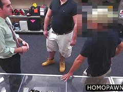 Thief customer is on his knees sucking fat cock to be forgiven in the shop