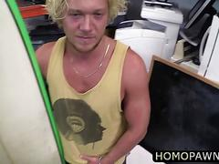 Muscular blonde dude sells his board with some ass and blows two horny cock in the pawnshop