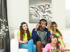 Cfnm gaming babes fuck black dude on couch