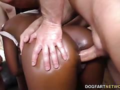 Sassy jezabel vessir sucking cock in gangbang