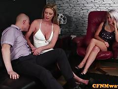 Euro cfnm femdoms feasting on blokes cock