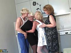 Three mature ladies fucked by a young man