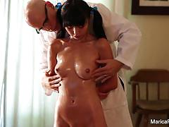 Marica hase gets oiled up and groped