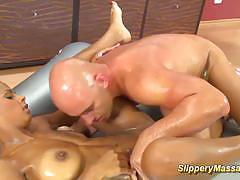 Oiled babe enjoys sensual fuck
