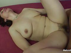 Cock hungry mature wants her hairy pussy fucked hard