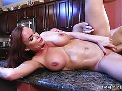 diamond foxxx, sean lawless, brunette, blowjob, riding, big tits, cumshot, facial, reverse cowgirl, cowgirl, spooning, sucking, licking pussy