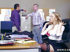 Office girl loves boob massage