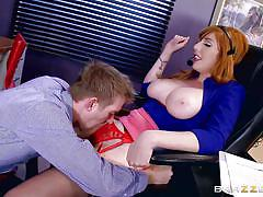 Naughty ginger fucked by her co-worker